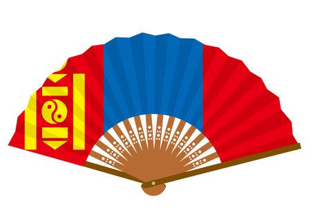 Mongolian flag-patterned fan