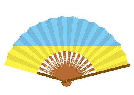Ukrainian flag-patterned fan Ilustração