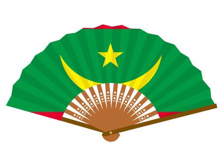 Mauritania flag-patterned fan