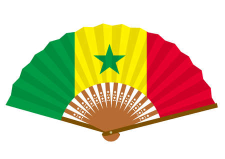 Senegalese flag-patterned fan