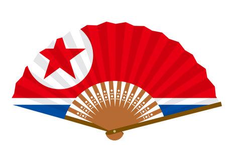 North Korean flag-patterned fan Ilustração