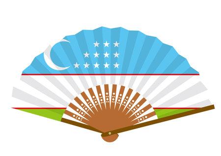Uzbek flag-patterned fan Ilustração