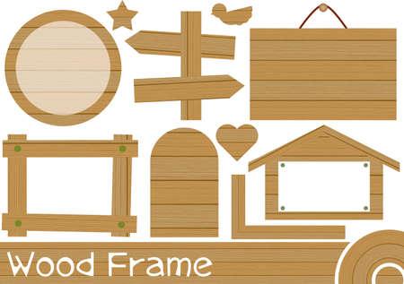 Illustration of a set of wood frames