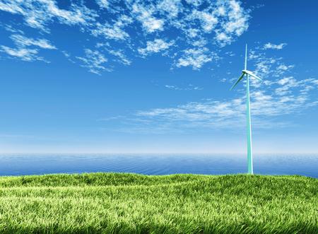 generates: Alternative energy, wind turbine generates electricity Stock Photo