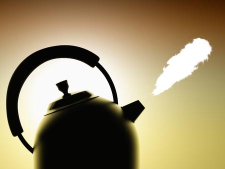 boil kettle on a dark background illuminated photo
