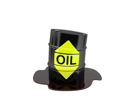 high damage: A barrel of oil isolated on white background