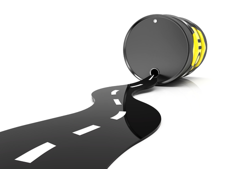 opec: A barrel of oil and the road isolated on white background