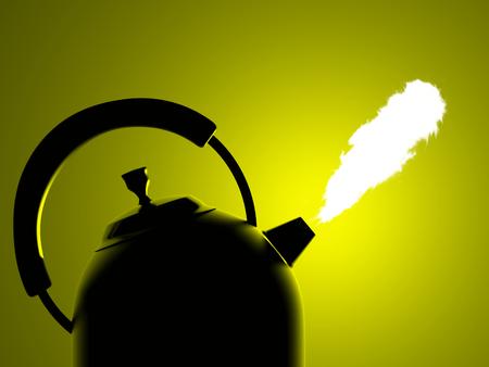 boil: boil kettle on a dark background illuminated Stock Photo