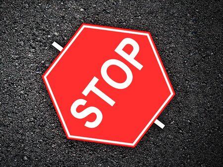 stop sign: Stop - road sign on asphalt