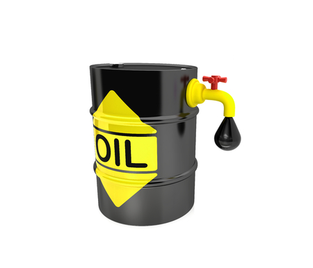 opec: Oil flows from the barrel in the bucket Stock Photo