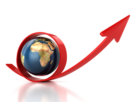 Red arrow and planet Earth Stock Photo