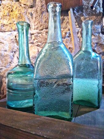 Glass bottles with moonshine