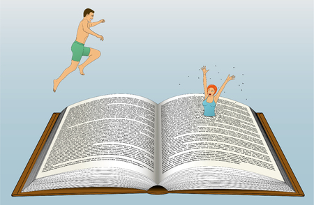 Guy and girl dive into an open book.