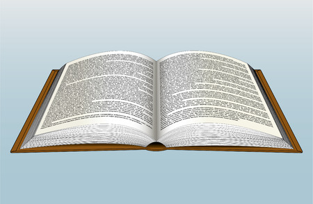 Open book with full of text.
