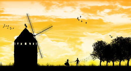 umgangsformen: Romantische Silhouette with windmill Illustration