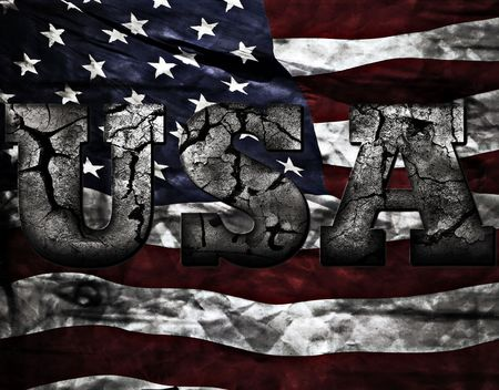 graphic illustration: A grunge style USA text with American flag background. Looks great full-sized.