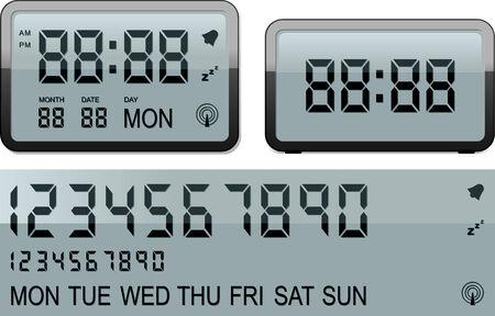 despertador: Despertador digital Vectores
