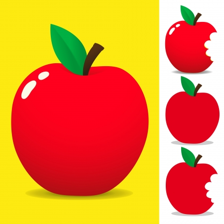 cartoon summer: Red apple  Illustration