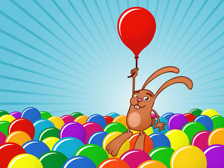 Bunny with balloons background Vector