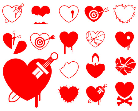 Heart icon collection - blood/violence vector Stock Vector - 3841936
