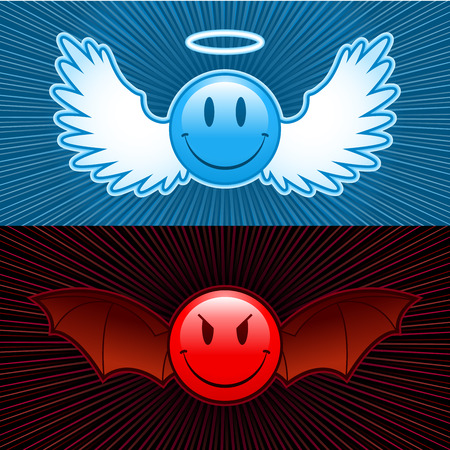 temptation: good and evil smiley