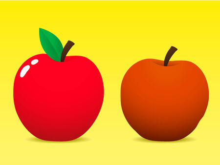 Fresh and old apple Vector