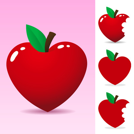 cartoon food: Red heart apple