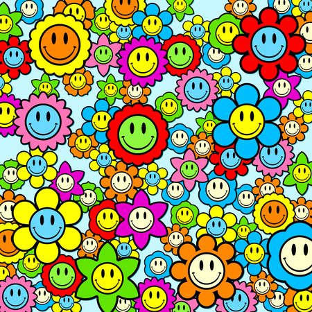 Colorful smiley face flower background Vector