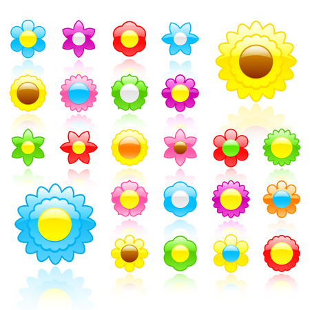 Glossy flower icon set  Vector