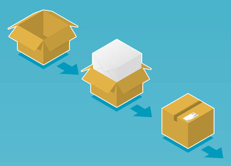 Box ready for shipping with envelopes Vector