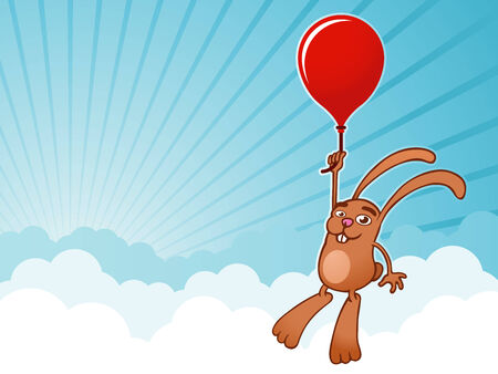 Bunny with balloon background