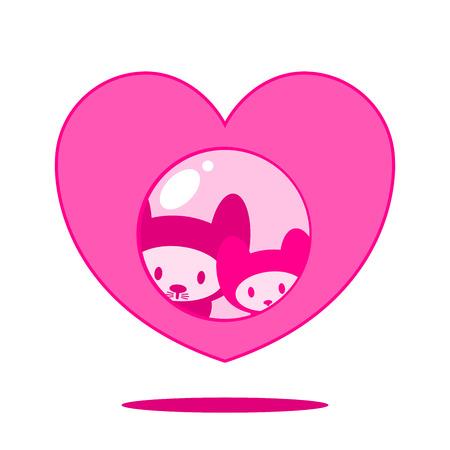 Cute cat couple in heart  Vector