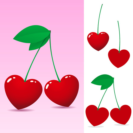 Red heart cherry Stock Vector - 3870579
