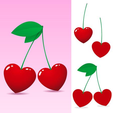 Red heart cherry Stock Vector - 3870579
