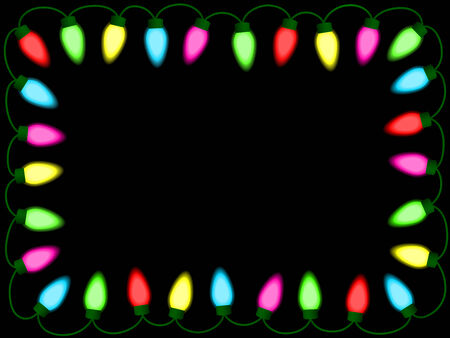 holiday border: Colorful christmasparty lights border