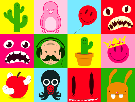 Colorful cartoon icon collection Vector