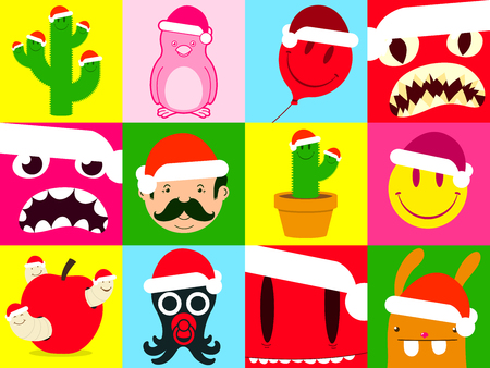 Colorful santa cartoon icon collection Vector