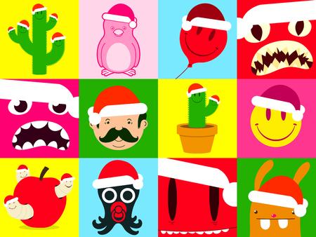 Colorful santa cartoon icon collection Vector