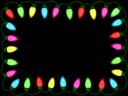 Colorful smiley christmasparty lights border Vector