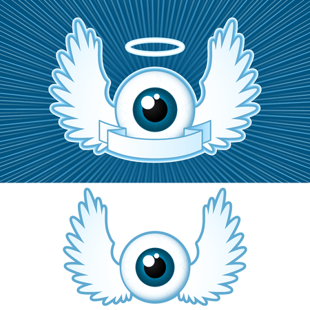 ali angelo: Occhi (2), con ali d'angelo e banner Vettoriali