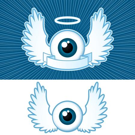 silueta de angel: Ojo (2), con alas de �ngel y bandera Vectores