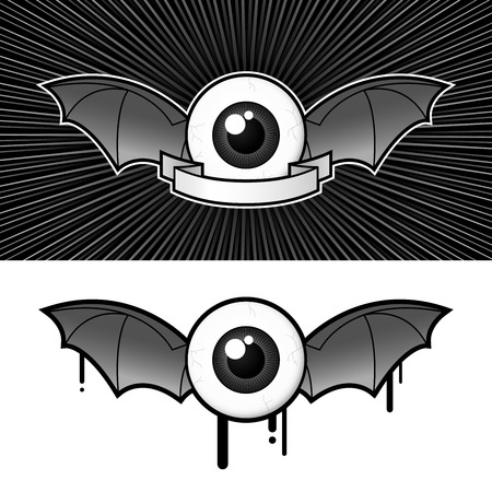 devil ray: Eye (1) with bat wings and banner Illustration
