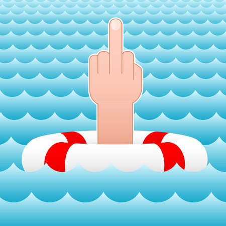 middle finger - sea - lifesaver - vector Vector