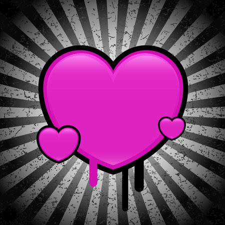 Pink shiny heart - grunge background - vector - easy to edit Vector