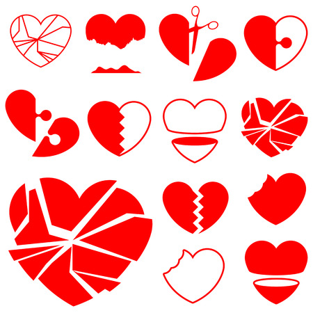 Heart icon collection (6) - broken Illustration