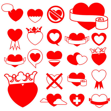 crossed out: Heart icon collection (1) - design elements - vector