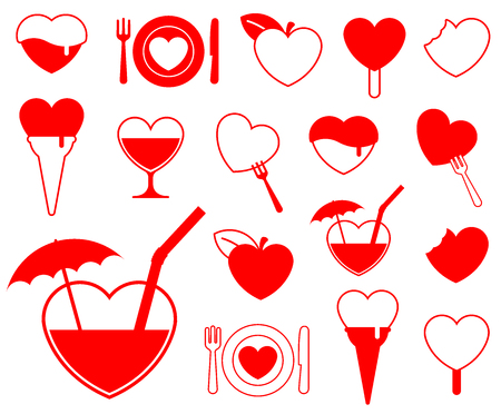 Heart icon collection (2) - foodbeverage vector