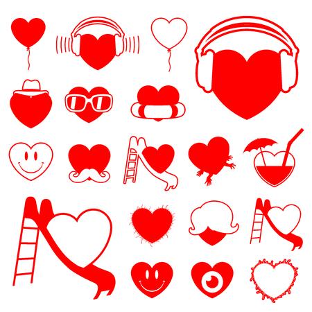 Heart icon collection (3) - fun vector Vector