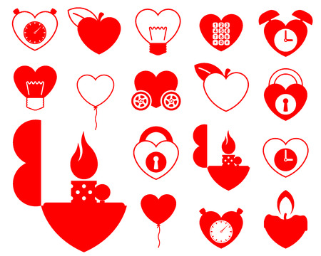 Heart icon collection (4) - objects vector Vector
