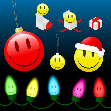 Christmas smiley face cartoon collection  Stock Vector - 3888076